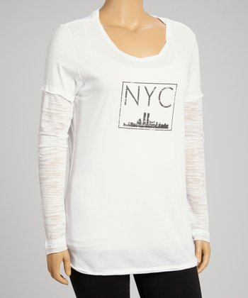 White 'NYC' Layered Burnout Top - Plus