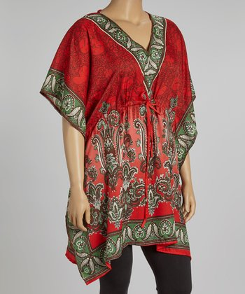 Red Paisley Dolman Tunic - Plus