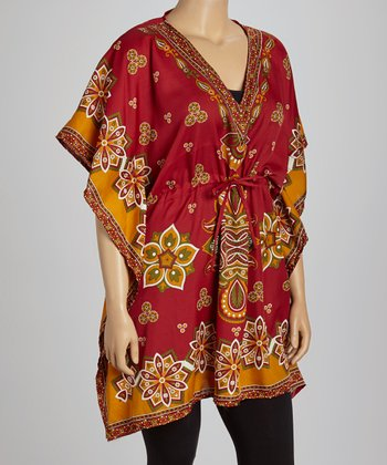Red Floral Dolman Tunic - Plus