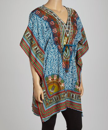 Blue Foliage Dolman Tunic - Plus