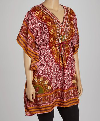 Red Foliage Dolman Tunic - Plus