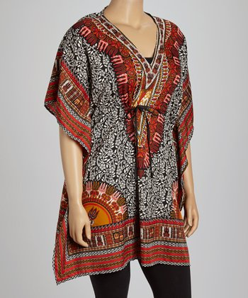 Black & White Foliage Dolman Tunic - Plus