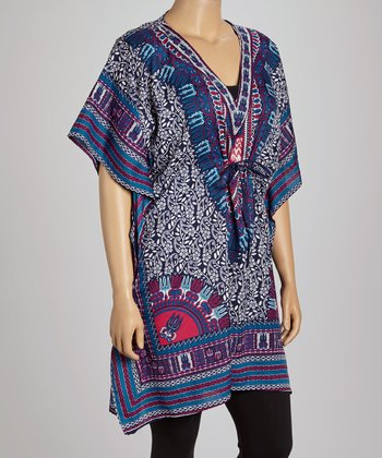 Blue & White Foliage Dolman Tunic - Plus