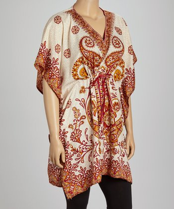 Orange & Gold Paisley Dolman Tunic - Plus