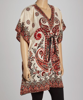 Black & Gold Paisley Dolman Tunic - Plus