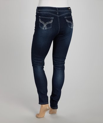 Indigo Embellished Straight Leg Jeans - Plus