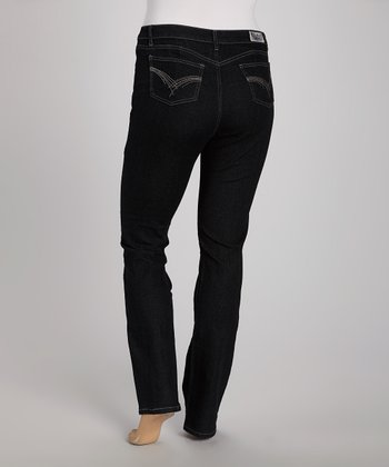 Black Embroidered Straight Leg Jeans - Plus