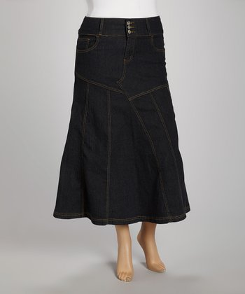 Black Patchwork Denim Maxi Skirt - Plus