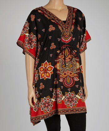 Black Floral Dolman Tunic - Plus