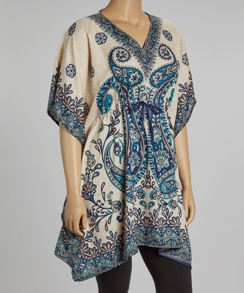 Blue & Gold Paisley Dolman Tunic - Plus