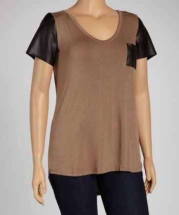 Mocha Color Block Tee - Plus
