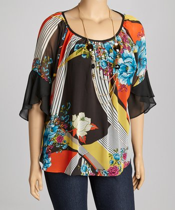 Black Floral Chiffon-Sleeve Top - Plus