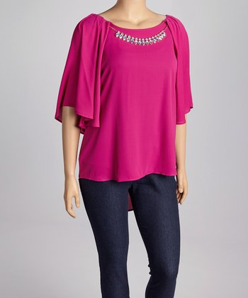 Magenta Hi-Low Cape-Sleeve Top & Necklace - Plus