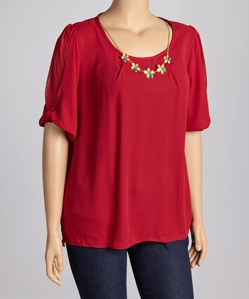 Burgundy Top & Floral Necklace - Plus