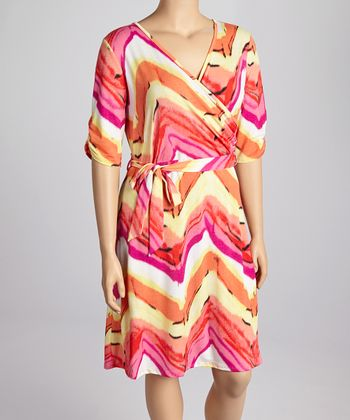 Orange Tie-Dye Wrap Dress - Plus