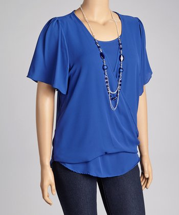 Royal Blue Drape Top & Necklace - Plus