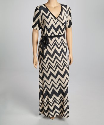 Taupe Wave Wrap Dress - Plus