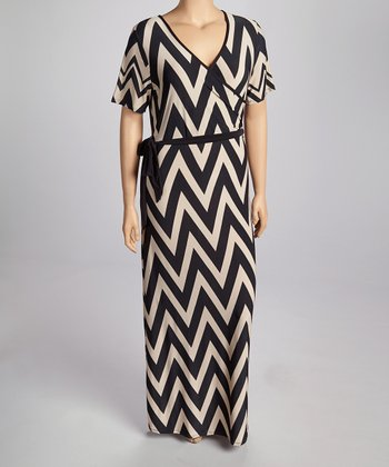 Taupe Zigzag Wrap Dress - Plus