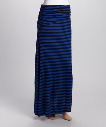 Blue & Black Stripe Maxi Skirt