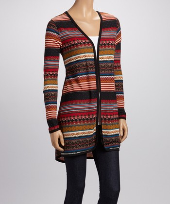 Red & Black Stripe Open Cardigan