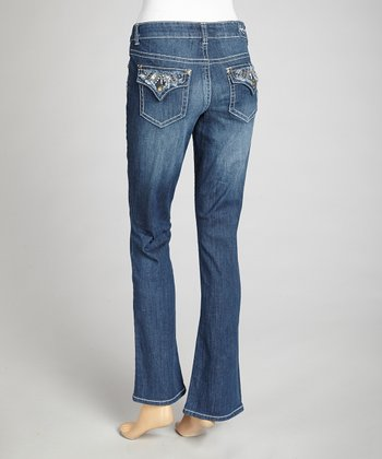 Luminous Blue Bootcut Jeans