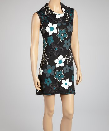 Teal & Black Blossom Sleeveless Dress
