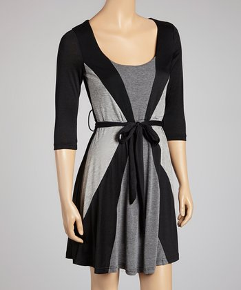 Black & Gray Geometric Tie Waist Dress