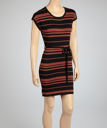 Rust Stripe Cap-Sleeve Dress