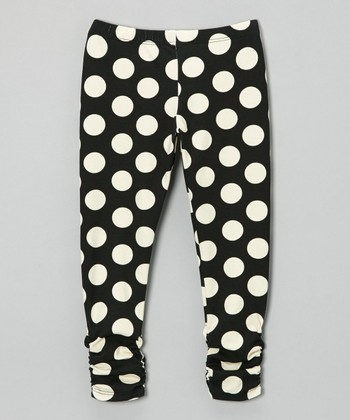 Black & White Polkadot Bea Leggings - Infant, Toddler & Girls