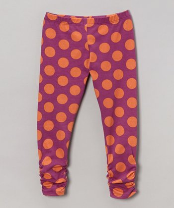 Purple & Orange Polkadot Bea Leggings - Infant, Toddler & Girls