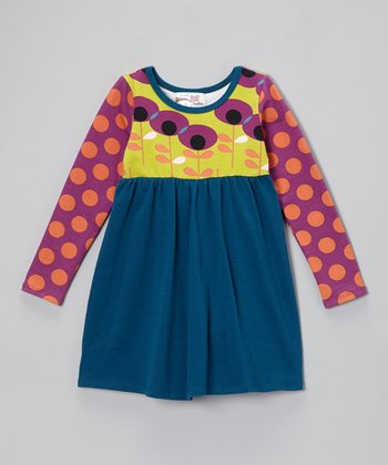 Teal Floral Empire-Waist Dress - Infant, Toddler & Girls