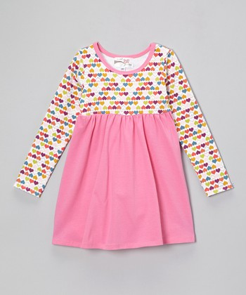 Hot Pink Heart Empire-Waist Dress - Infant, Toddler & Girls
