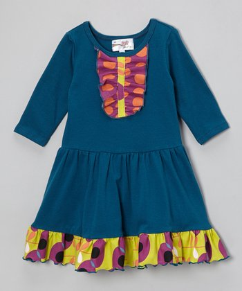 Teal Three-Quarter Sleeve Tuesday Dress - Infant, Toddler & Girls