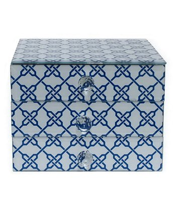 White Link Three-Drawer Glass Jewelry Box