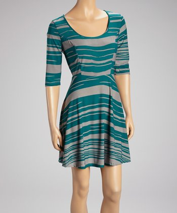 Teal & Gray Stripe Scoop Neck Dress