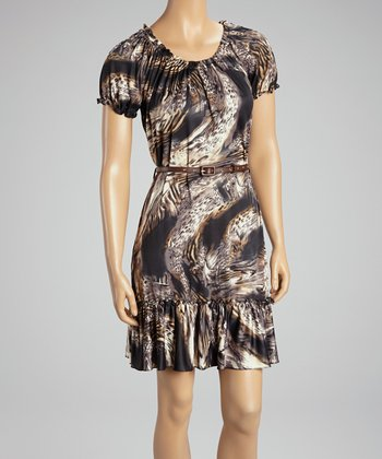 Tan & Black Abstract Belted Dress