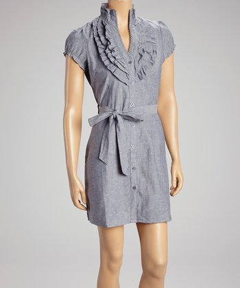 Blue Ruffle Shirt Dress