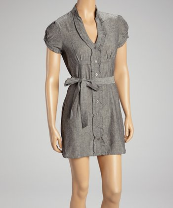 Gray Belted Shirt Dress