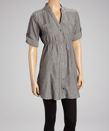 Gray Pocket Shirt Dress