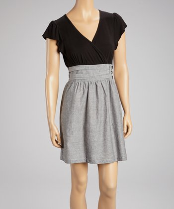 Gray & Black Surplice Dress