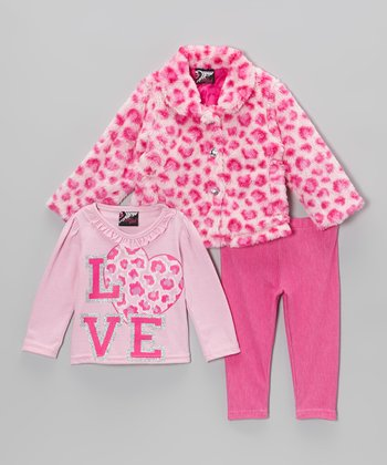 Pink Leopard 'LOVE' Faux Fur Jacket Set - Infant