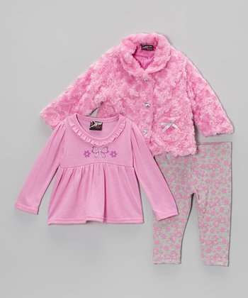Pink Butterfly Faux Fur Jacket Set - Infant & Toddler