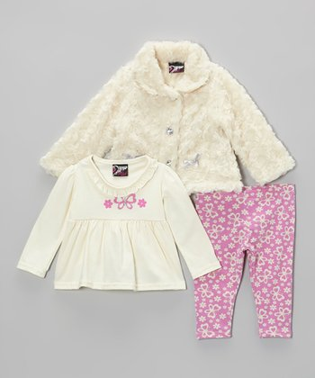 White Butterfly Faux Fur Jacket Set - Infant & Toddler