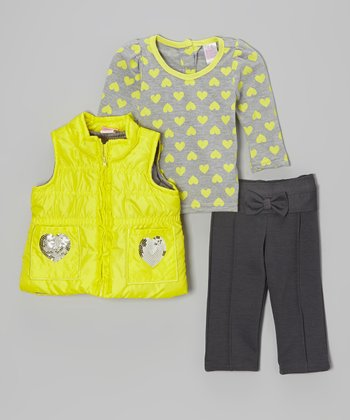 Yellow Heart Puffer Vest Set - Infant