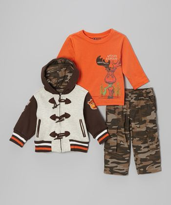 Brown Raglan Zip-Up Hoodie Set - Infant