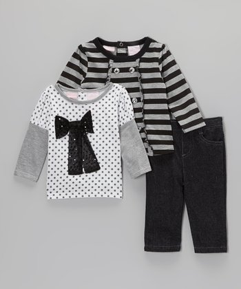 Black & Gray Jeans Set - Infant