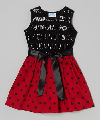 Black & Red Polka Dot Sequin Dress - Infant, Toddler & Girls
