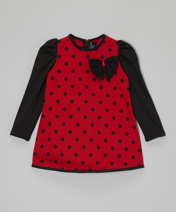 Black & Red Polka Dot Swing Dress - Infant, Toddler & Girls