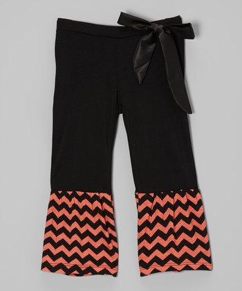 Orange & Black Zigzag Ruffle Pants - Infant, Toddler & Girls