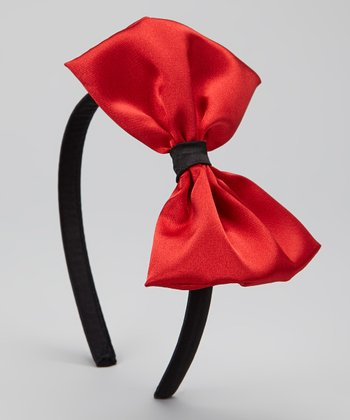 Black & Red Silk Headband